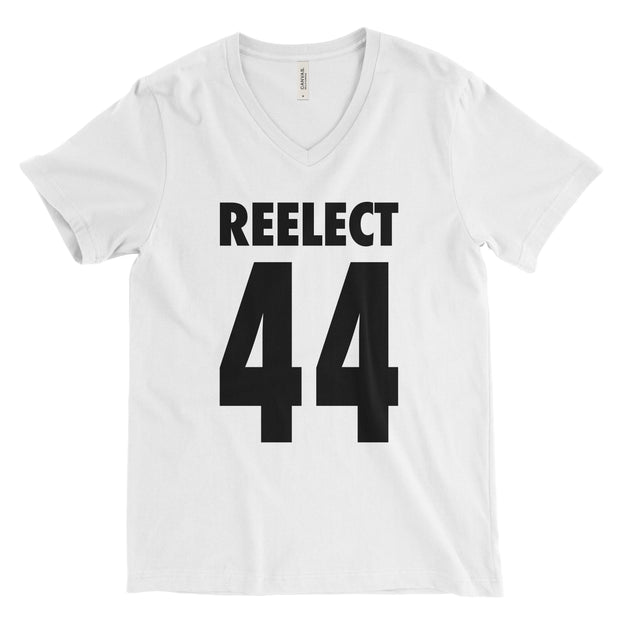 Reelect 44 v-neck V-neck Reelect Obama White XS