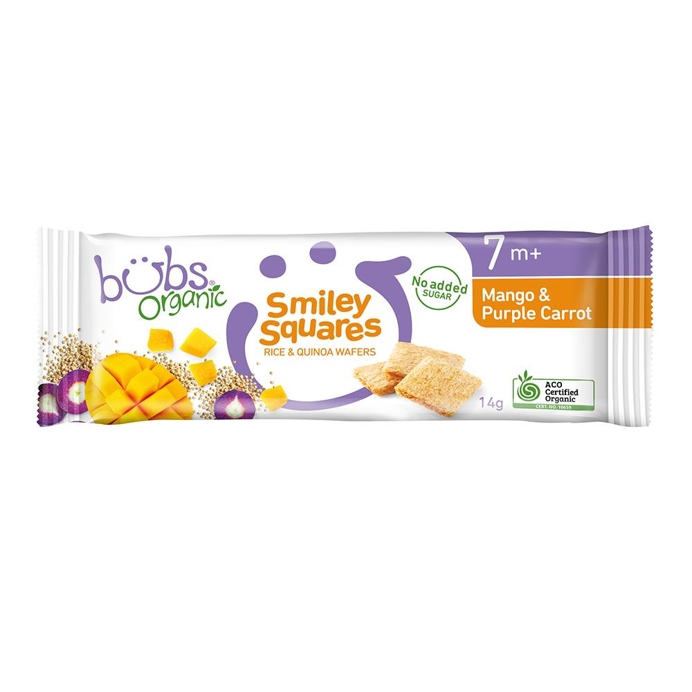 Bubs® Organic Smiley Squares Mango and Purple Carrot (14g) (box of 14)