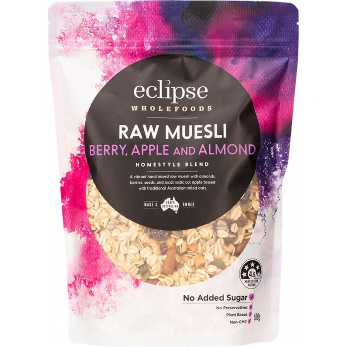 Eclipse Wholefoods Raw Muesli Homestyle Blend Berry, Apple & Almond (500g) (box of 6)