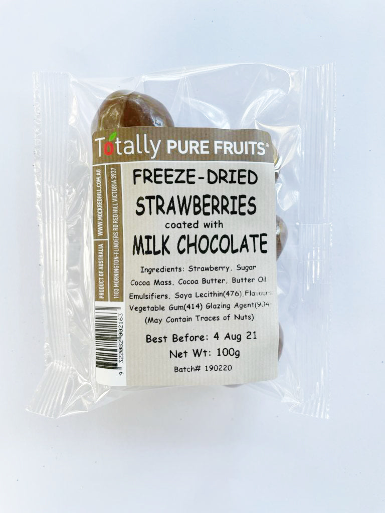 Totally Pure Fruits Freeze Dried Strawberries Coated with Milk Chocolate(25g) (box of 12)