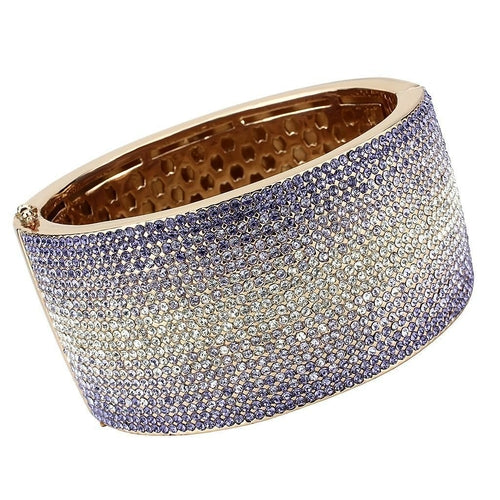 LO4279 - Rose Gold+e-coating Brass Bangle with Top Grade Crystal  in