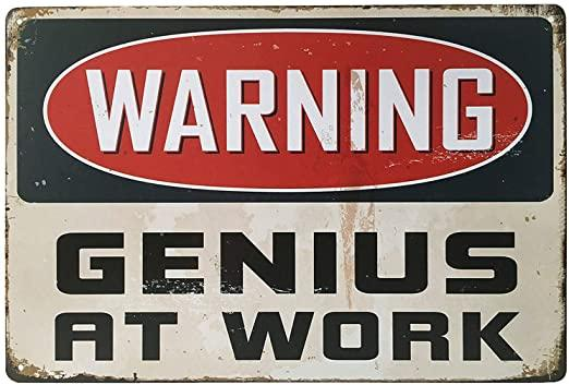 Warning Genius At Work - Garage Sign