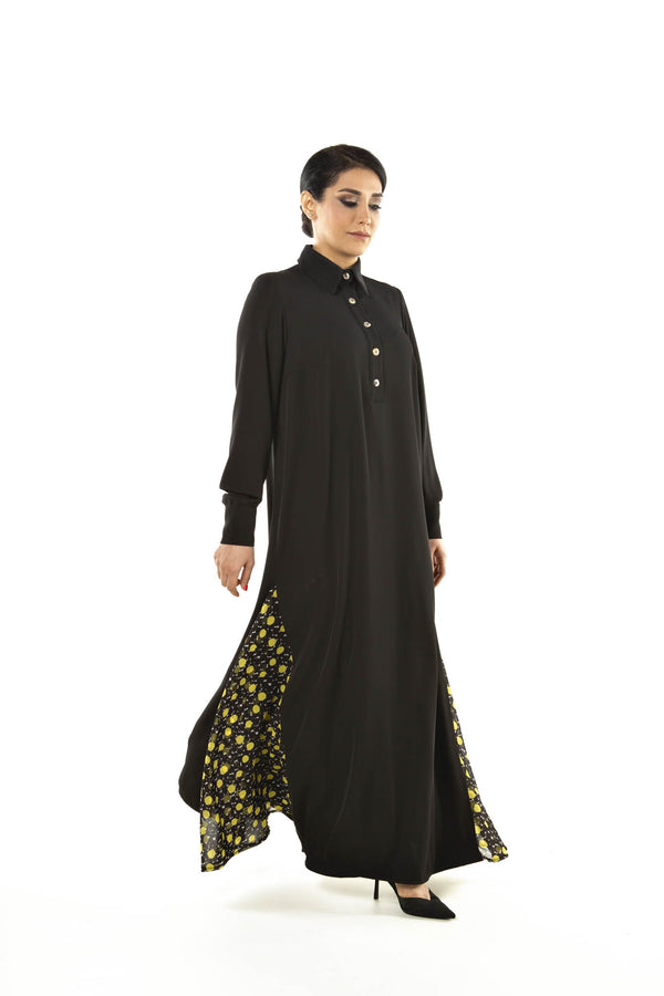 Black Thobe with yellow polka dots details