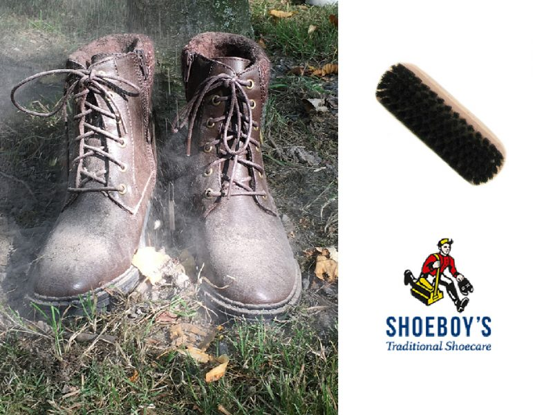 Muddy boots Shoeboy's cleaning brush