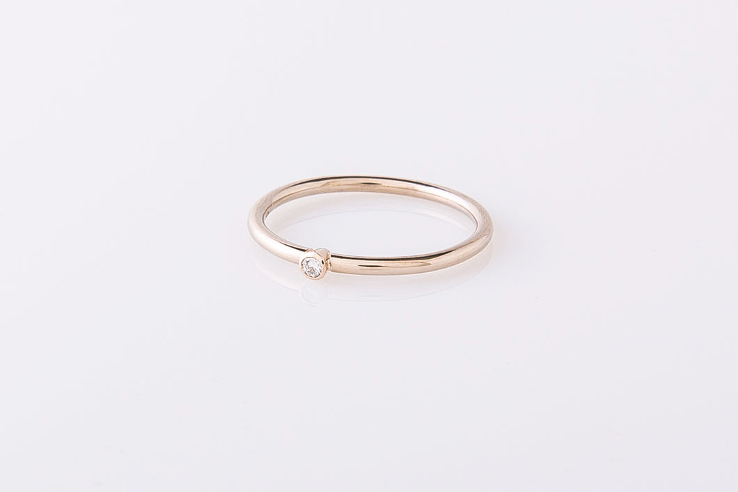 Ring met diamant, witgoud