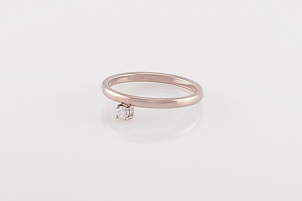Ring met diamant ernaast, witgoud
