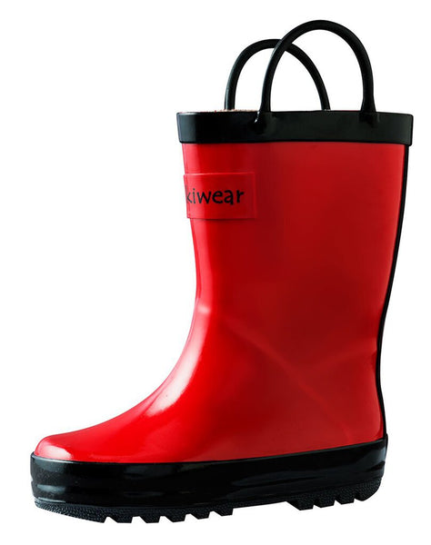 Size 4: Oaki Red/Black Loop Handle NEW Rain Boots
