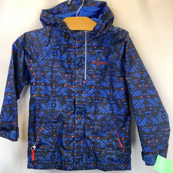 Columbia Navy/Blue Geo Print Mesh Lined Rain Wind Breaker 4