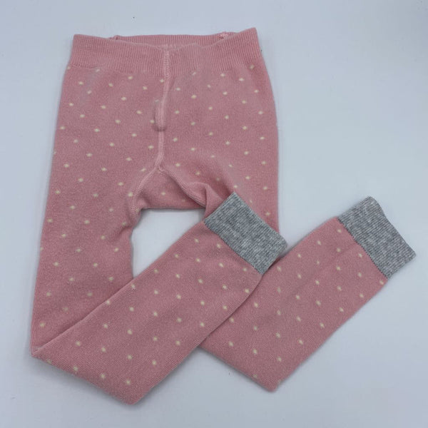 Size 2/3: Mini Boden Pink/Gray W/Off White Polka-Dots/Cherries on Bottom Footless Tights