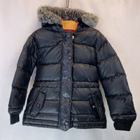 Size 5: Hanna Andersson Black Puffy DOWN Faux Fur Hood Trim Coat