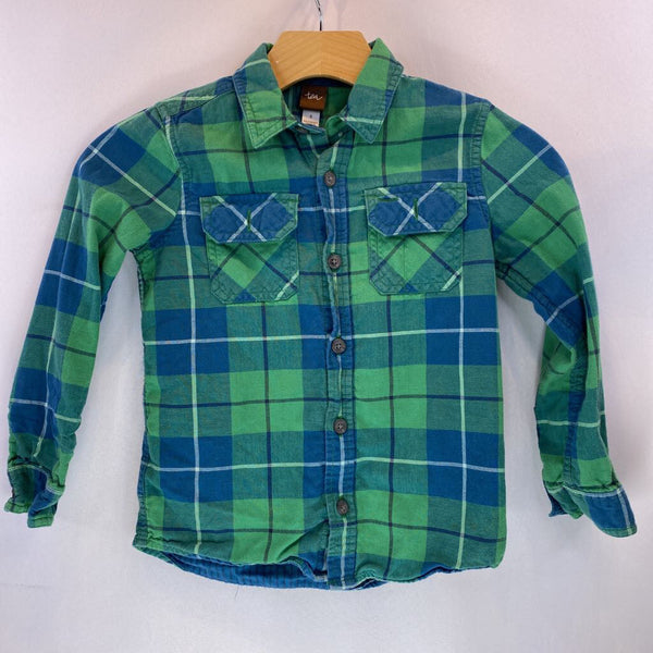 Size 6: Tea Green/Blue Plaid W/Teal/Navy Stripes Reversible Oxford Flannel