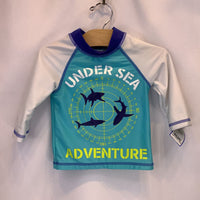 Size 3: Candlesticks Long Sleeve Blue/White/Navy 'Sea Adventures' Swim Shirt Rash Guard *REDUCED