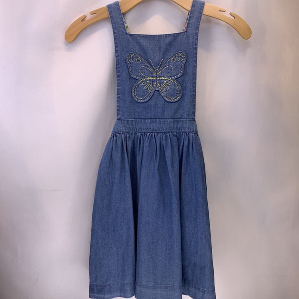 Size 9-10: Boden Blue Denim Bib/Pocket Dress W/Butterfly Dress - REDUCED