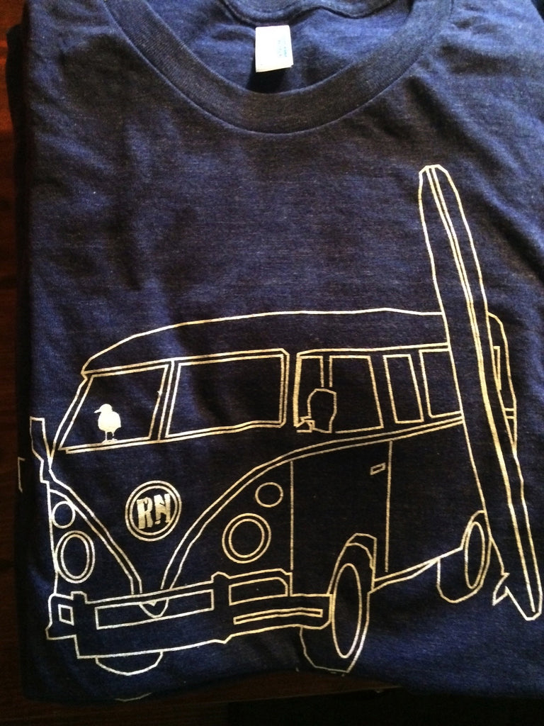 Navy Retro Surf Van T