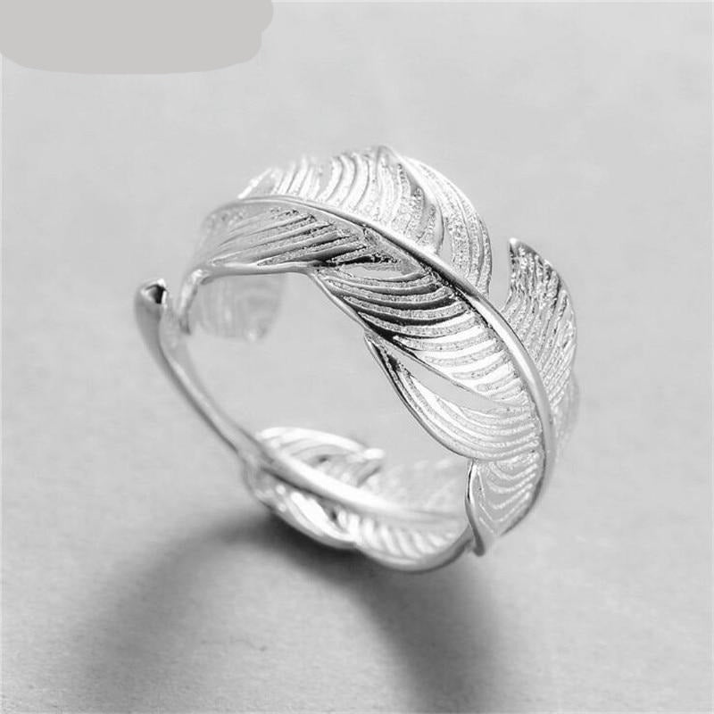 New Design Adjustable Open Feather Ring For Girls 2021