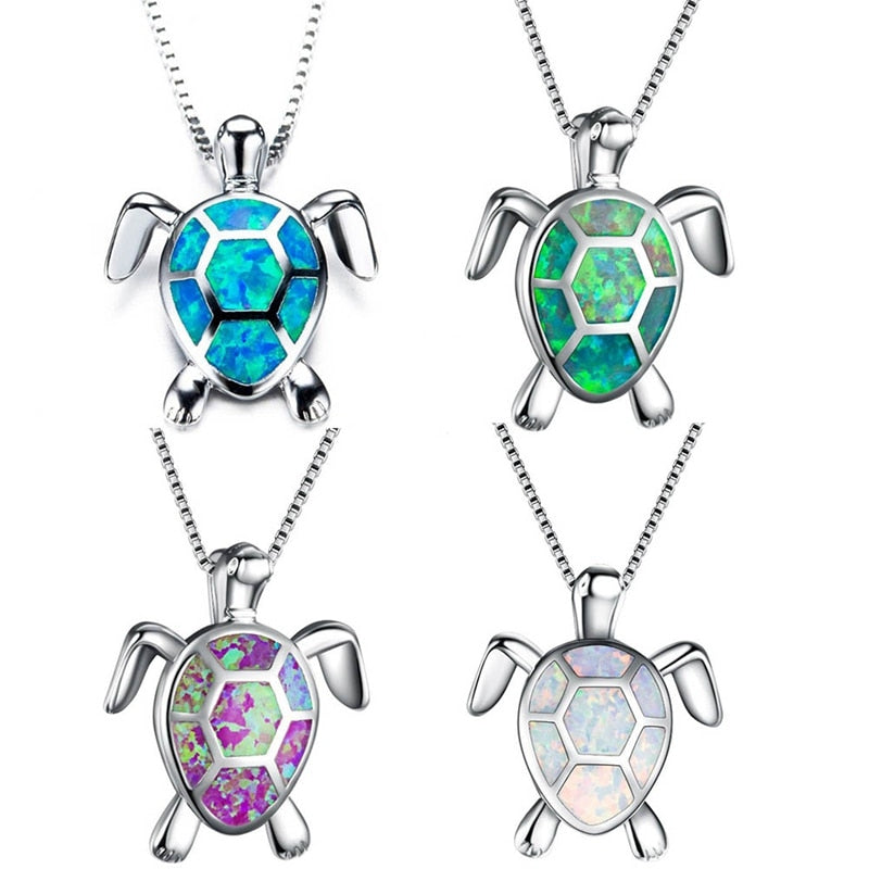 Opal Sea Turtle Pendant Necklace