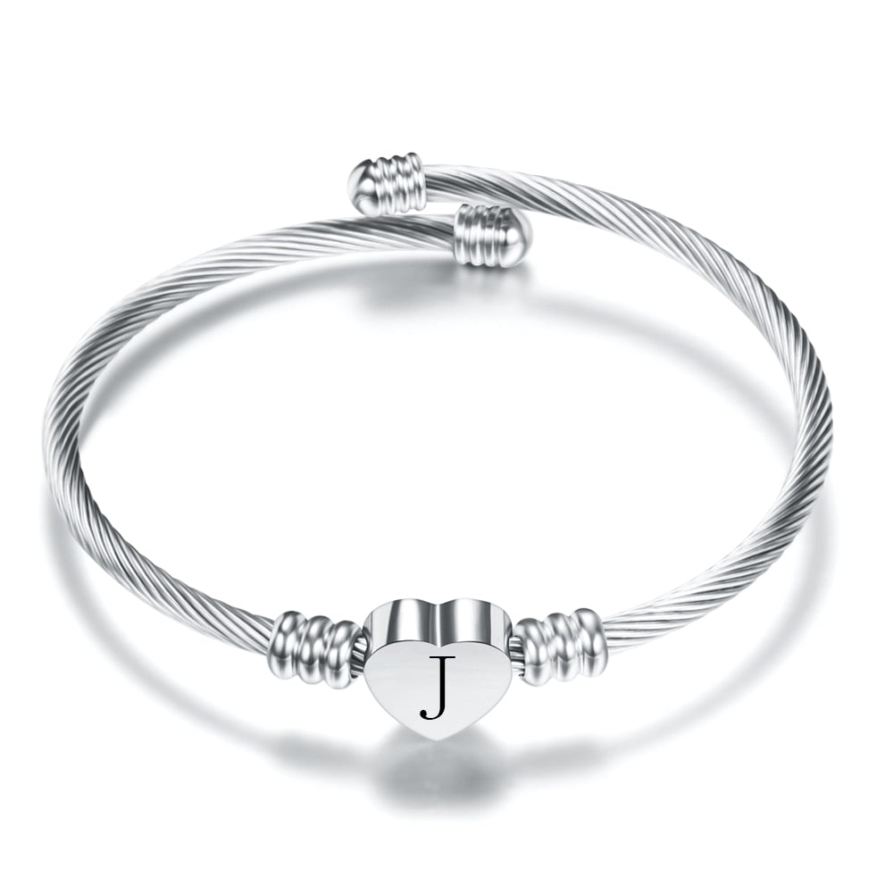 Best High Quality Adjustable Heart Initial Bracelet For Women Online