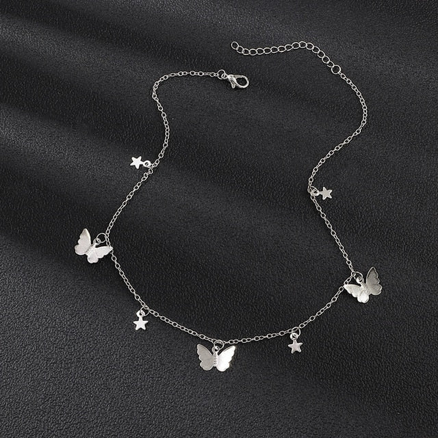Silver and Gold Butterfly Choker Necklaces For Women Online
