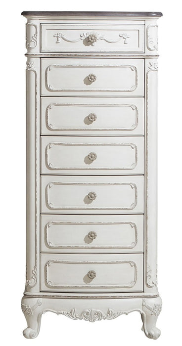 Homelegance Cinderella 7 Drawer Tall Chest Antique White with Grey Rub-Through 1386NW-12 image