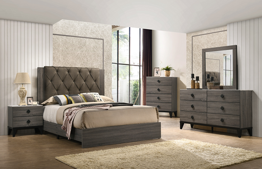 Avantika Fabric & Rustic Gray Oak Eastern King Bed image