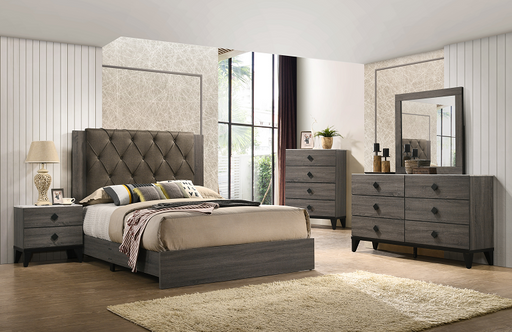 Avantika Fabric & Rustic Gray Oak Queen Bed image