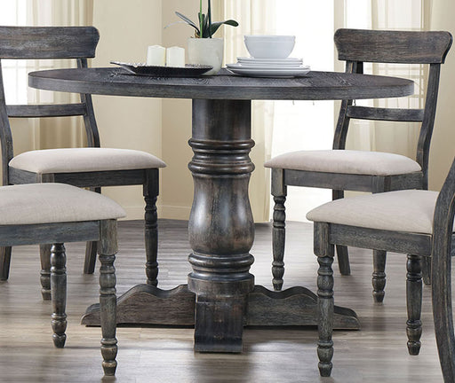 Acme Furniture Wallace Round Pedestal Dining Table in Weathered Gray 74640 image