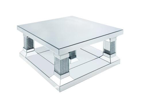 Acme Furniture Caesia Coffee Table in Mirrored/Faux Diamonds 87905 image