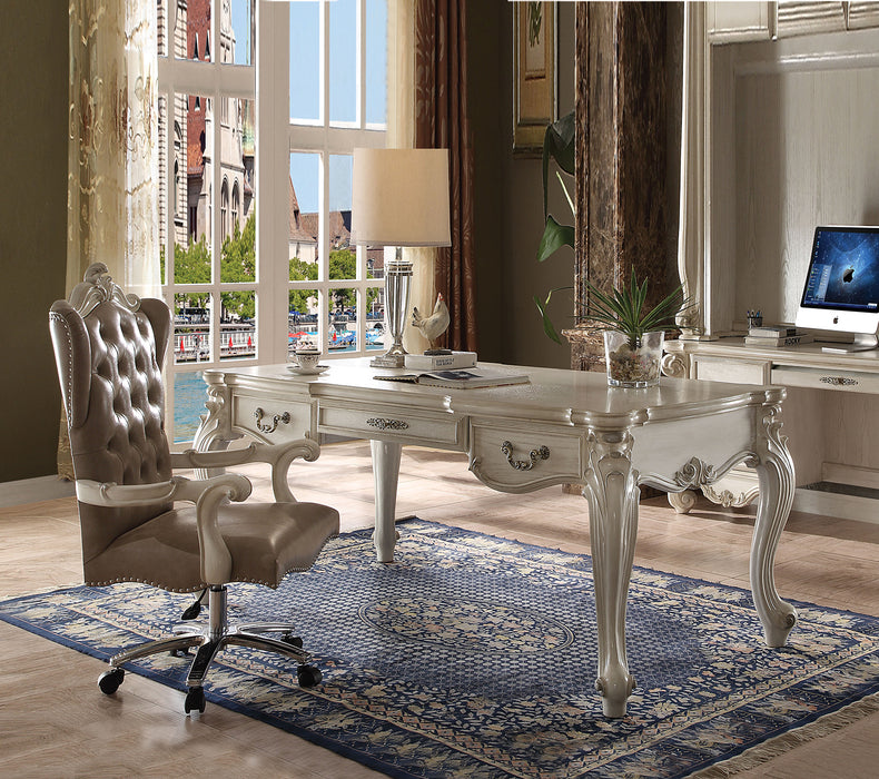 Versailles Bone White Computer Desk & Hutch image