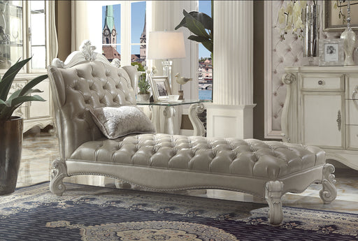 Versailles Vintage Gray PU & Bone White Chaise & Pillow image