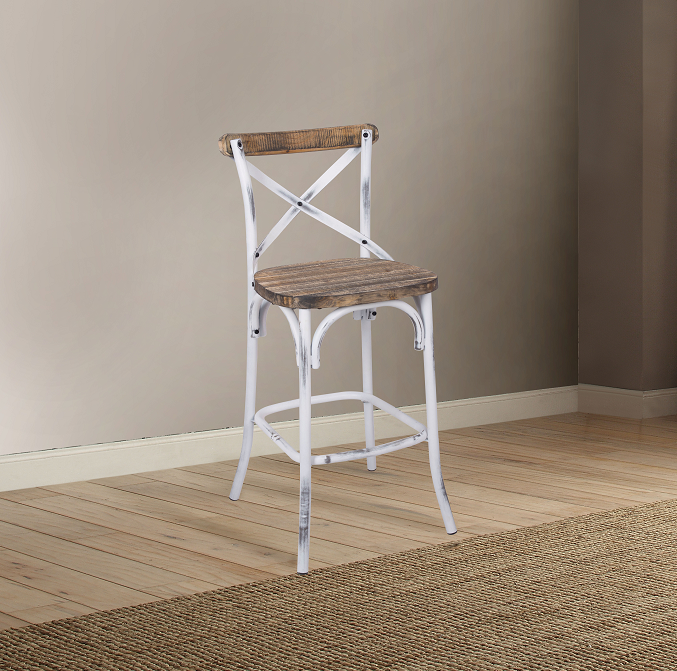 Zaire Antique White & Antique Oak Bar Chair (1Pc) image