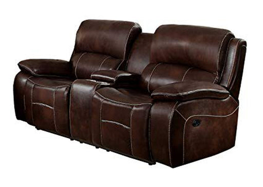 Homelegance Furniture Mahala Double Reclining Loveseat in Brown 8200BRW-2 image