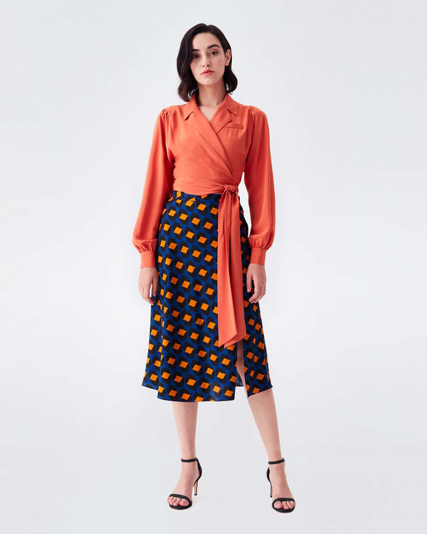 Stephanie Silk Crepe De Chine Collared Wrap Top in Orange Rust