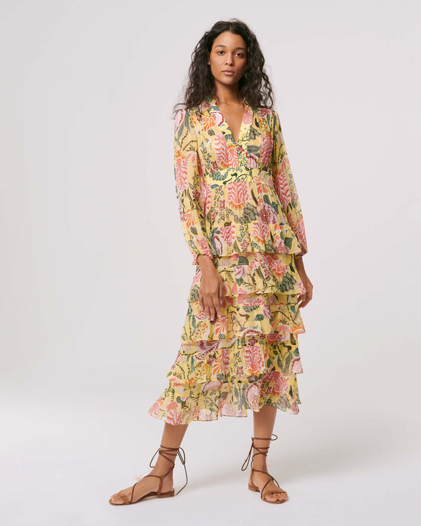 Abeni Chiffon & Silk Crepe De Chine Midi Dress in Oasis Tapis