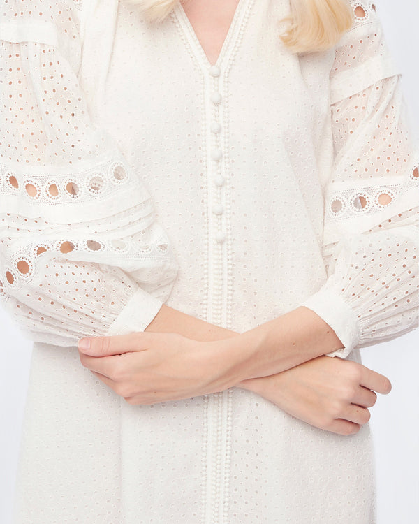 Nicolette Cotton-Eyelet Mini Dress in White