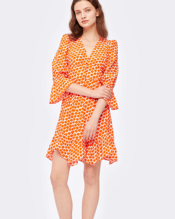 Sydney Crepe Mini Dress in Daisy Dots Tomato Red