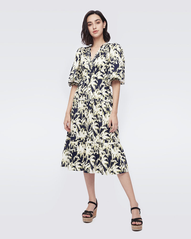 Camille Cotton-Jacquard Dress in Palm New Navy