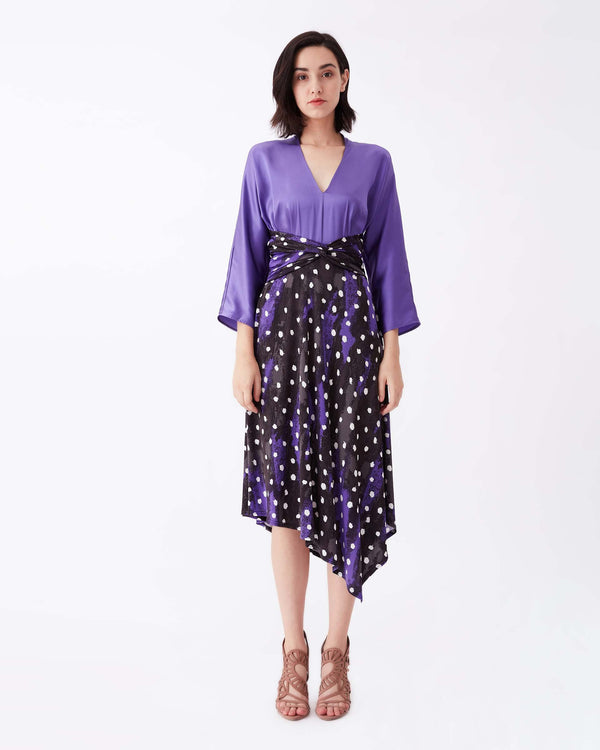 Doris Silk & Jersey Belted Dress in Canvas Chariote Purple