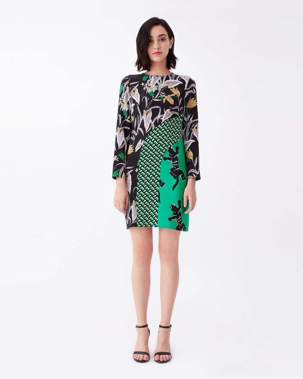 Jamie Silk Crepe De Chine & Crepe Mini Dress in Bali Flower Black/3D Chain Green