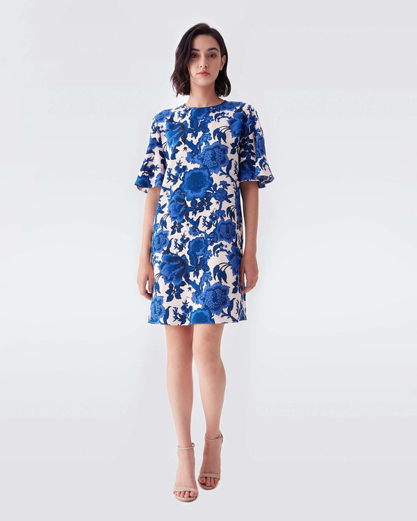 Arlene Cady Mini Dress in Willow Patterns Pink Blue