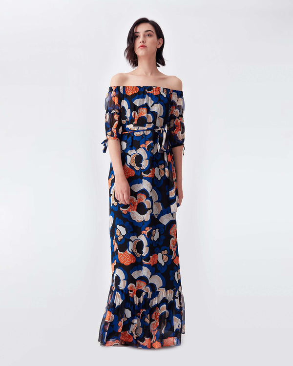 Ashley Chiffon-Blend Gown in Wax Cloth Floral