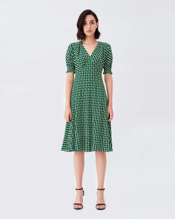 Jemma Cinch-Sleeve Crepe Midi Dress in 3D Chain Green