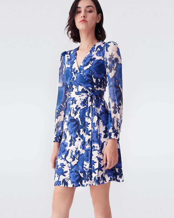 Gala Silk-Jersey & Chiffon Mini Wrap Dress in Willow Patterns Pink Blue
