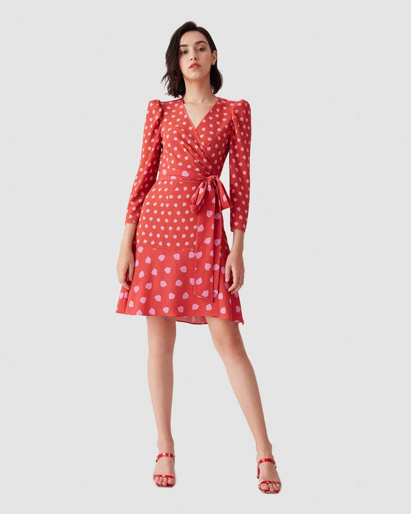 Charlene Crepe Mini Wrap Dress in Chickpea Dot