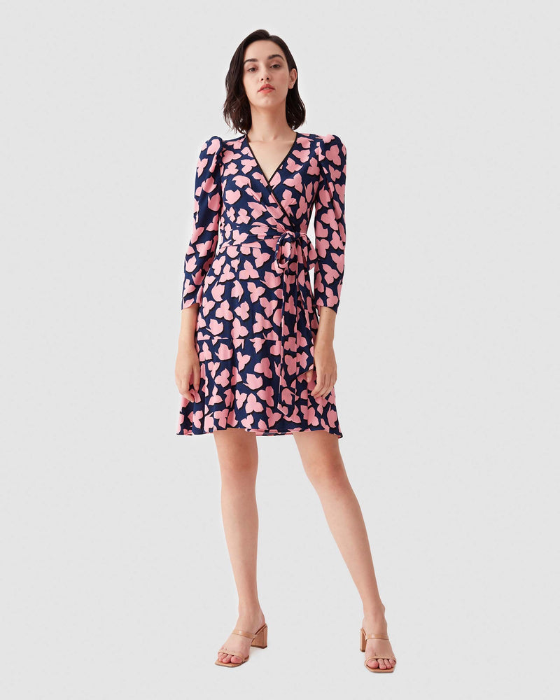 Charlene Crepe Mini Wrap Dress in Leaf Shadow