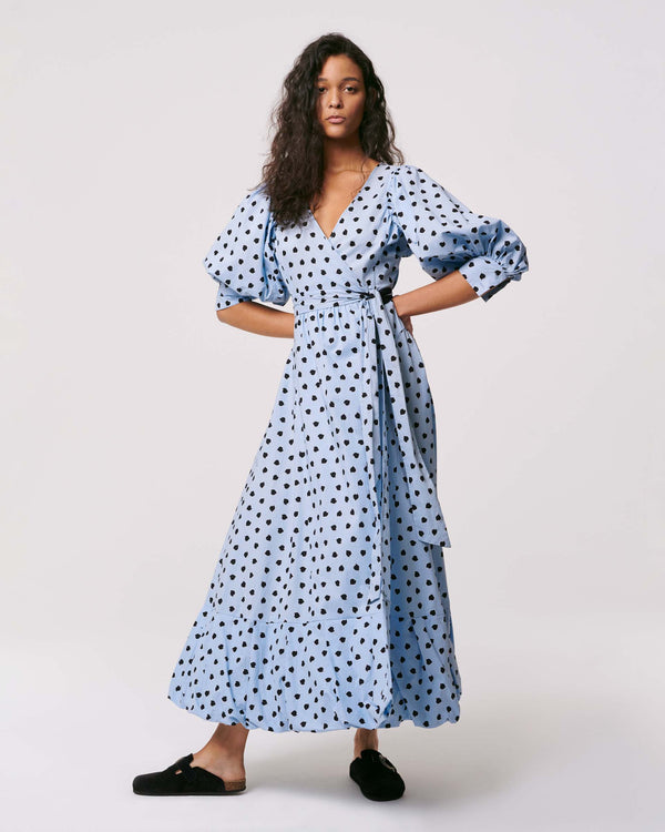 Ulrica Cotton Wrap Dress Chickpea Dot Blue