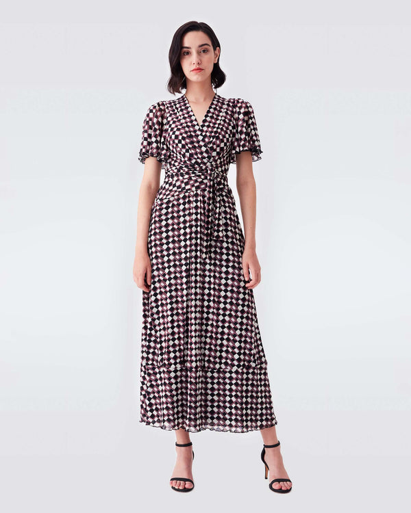 Alison Mesh Belted Maxi Dress in Nomad Tartan
