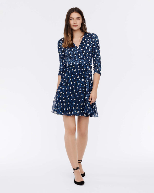 Irina Silk-Jersey Wrap Dress in Dot Structure Navy