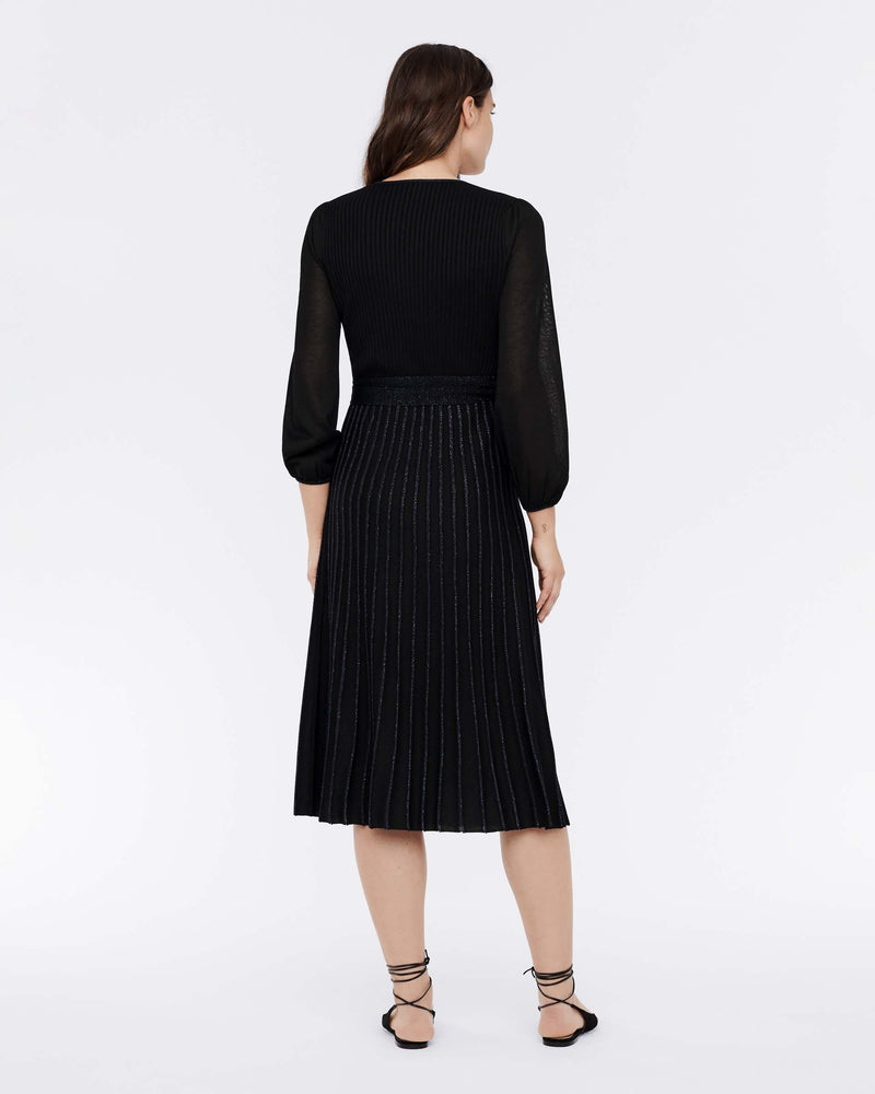 Shelley Merino-Wool Wrap Dress in Black