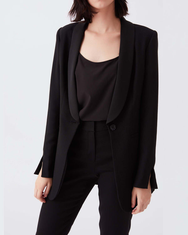 Cathy Satin Back Crepe Blazer in Black