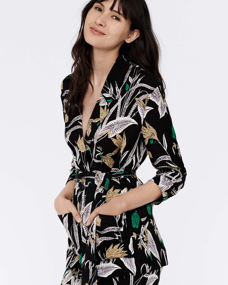 Esther Silk-Cady Blazer in Bali Flower Black